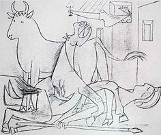 Picasso: Guernica Sketch no.7: http://www.pablopicassoguernica.com/projects/picassoguernica/