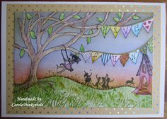 Whimsical Have Fun 8x6 Handcrafted greeting card by CraftyMrsPanky