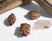 lot de 3 perles rétro en résine métallisée cuivre : Perles Synthétiques par le-comptoir-des-dunes