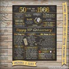 Interesting info for those of us born 50 years ago, too!  ;-)                      50th Anniversary Gift 1966 Instant Download by PRINTSbyMAdesign