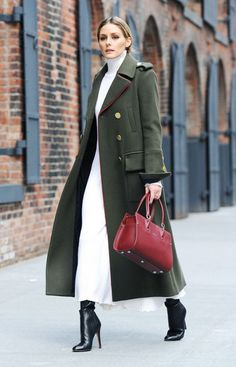 On Olivia Palermo: Zara Knit Dress; Tibi Military Coat (£1310); Longchamp Bag and Jimmy Choo boots.