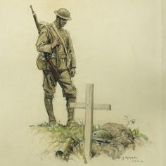 This Riveting Art From the Front Lines of World War I Has Gone Largely Unseen for Decades William James Aylward depicted a soldier looking down at the grave of his bunk mate in His Bunkie. (National Museum of American History) Remembrance Day Art, Remembrance Tattoos, Soldier Drawing, Ww1 Art, War Tattoo, Military Drawings, World War One, Military Art, Illustrations