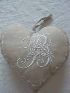⌖ Linen & Lace Luxuries ⌖  heart made with vintage linen towel embroidered with B monogram