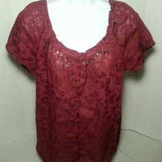 SONOMA Burgundy Boho Top 30% off bundles Lightweight and fabulous for the summer-Burgundy top with short elasticized sleeves and a drawstring bottom. This peasant style top is very feminine. Comes from a pet and smoke free home. Please ask any questions you may have before you buy. Thanks! Sonoma Tops