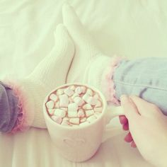 enjoy the little things... like lounging around in your sockies, and drinking hot cocoa with marshmallows <3