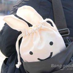 Cute Ninja Rabbit Cloth Tied Mouth Daily Sundries Storage Bag Stuff Bag - US$2.98