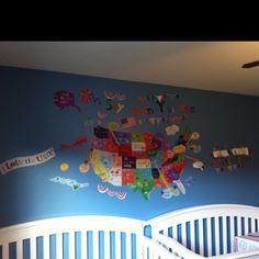 Boy/girl twin nursery wall