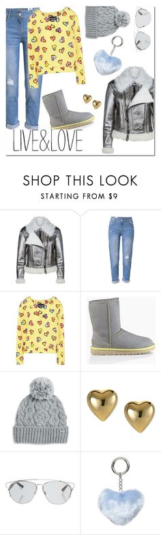 """Live and Love"" by fancy-chic ❤ liked on Polyvore featuring Burberry, WithChic, Boutique Moschino, UGG, Rella, Christian Dior and Dorothy Perkins"