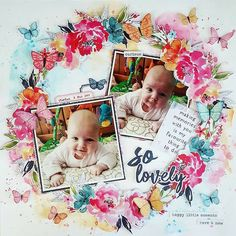 So Lovely Scrapbook Layout – Cocoa Vanilla Studio Happiness - floral wreath baby girl rainbow mixed media Baby Scrapbook Pages, 12x12 Scrapbook, Scrapbook Albums, Scrapbook Journal, Mixed Media Scrapbooking, Scrapbooking Layouts, Scrapbook Storage, General Crafts, Layout Inspiration