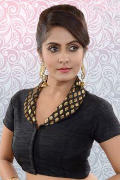 Black & dull gold raw silk & banarasi brocade blouse with shawl collar…