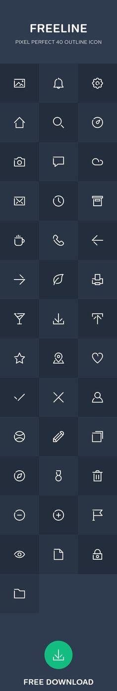 Freeline - 40 free outline icon on Behance
