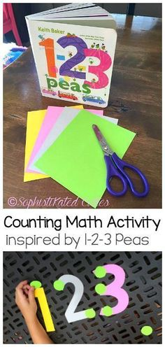 Hands-on Math for Kids: Counting Activity inspired by the children's book, 1-2-3 Peas! Practice one-to-one correspondence, counting, addition, and subtraction! Perfect for preschool and kindergarten. ~ SophistiKated Cuties for http://BuggyandBuddy.com