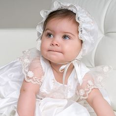 Scarlett Lace Christening Gown & Bonnet months Only) Christening Gowns For Girls, Baptism Gown, Christening Outfit, Baby Girl Dresses, Flower Girl Dresses, Stylish Eve, Silk Roses, Cute Baby Girl, My Little Girl