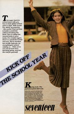 """Ah, the wonderful back-to-school issue.  Seventeen magazine, August 1979.  Model Phoebe Cates pictured here in the """"Kick off the School Year"""" layout."""
