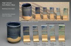 Mastering Cone 6 Glazes - High Calcium Semi Matte 2 variations
