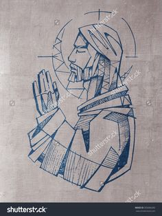 hand drawn illustration or drawing of Jesus Christ praying by Iknu Arts Jesus Christ Images, Jesus Art, Christian Drawings, Christian Art, Jesus Drawings, Art Drawings, Religious Images, Religious Art, Jesus Tatoo