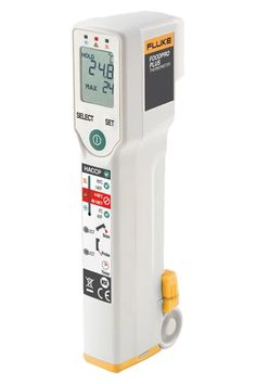 The Fluke FoodPro Plus thermometer combines the same infrared surface temperature scanner as the FoodPro, and adds to it a fold out probe thermometer for measuring internal food temperature