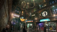 The Medina level on Ceres. With its claustrophobic, neon-drenched atmosphere, the design nods to classic sci-fi movies like Blade Runner. Cyberpunk Anime, Cyberpunk City, Futuristic City, Blade Runner, Sci Fi Rpg, New Retro Wave, Anime City, Pokemon, Home Decor Ideas