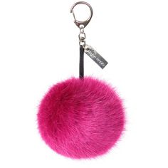 Helen Moore Pom Pom Keyring - Magenta ($34) ❤ liked on Polyvore featuring accessories, pink and pom pom key ring
