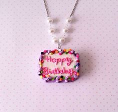 Birthday Cake necklace polymer clay by FlowerChildCharms on Etsy