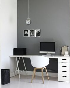 white floor, grey wall | workspace | home office | minimal design desk | mac office