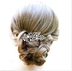 Bridal Rhinestone Hair Comb Wedding Floral by SukranKirtisJewelry