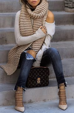 #fall #style Wool Scarf // Cream Sweater // Destroyed Jeans // Pumps