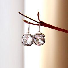 Faux diamond, cushion cut Swarovski crystal bridal earrings