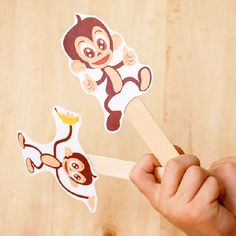 In Need Of An Easy Paper Craft For Kids Try These Printable Monkey Puppets