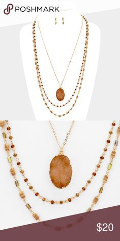 "Natural Stone Triple Layer Necklace Set • Necklace Size : 24"" + 3"" L • Decor Size : 3"" L  • Earrings Size : 1.5"" L • Triple layer raw druzy pendant beaded long necklace Jewelry Necklaces"