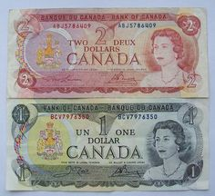 Canada 1 and 2 Dollar Paper Money! I loved saving a few dollar bills from Canada when we went to Montreal. Canadian Things, I Am Canadian, Canadian History, Canadian Tire, Province Du Canada, One Dollar, Dollar Bills, Old Money, Viajes