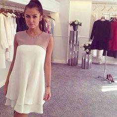 $6.36 New Fashion Women Chiffon Dress Patchwork Round Neck Ruffle Hem Sleeveless Loose Casual Dress White