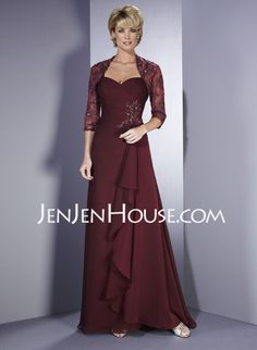 Mother of the Bride Dresses - $143.69 - A-Line/Princess Sweetheart Court Train Chiffon  Charmeuse Mother of the Bride Dresses With Ruffle  Beading (008006157) http://jenjenhouse.com/A-line-Princess-Sweetheart-Court-Train-Chiffon--Charmeuse-Mother-Of-The-Bride-Dresses-With-Ruffle--Beading-008006157-g6157