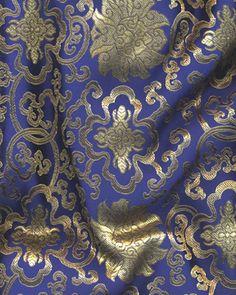 Buythepiece.com--$8.99--Fashion Fabric Chinese Brocade - Lattice - Navy Blue