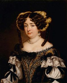 Eleonor Borghese by Jacob Ferdinand Voet.  This Voet portrait shows the ladies could make a wonderful display in something other than studio casual to negligée dress. Her sleeves have accordion pleats separated by bows that emerge from lace engageantes. Her bodice decoration flares outward as it rises up, presumably from a vee waistline. Her hurluberlu coiffure framed with what appear to be ostrich feathers adds to appearance of verdant opulence.