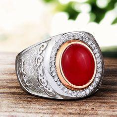 Anillo de ágata mens mens de anillo de plata por ATAjewels en Etsy