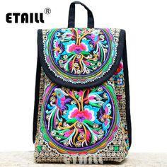 2a80af535066 Hmong Ethnic Floral Indian Embroidered Brand Logo Backpack Women Drawstring  Travel Bag Rucksack Sac a Dos Femme Mochila Feminina