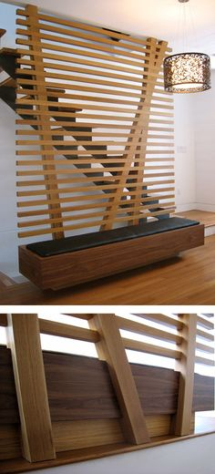 "takeovertime tworibka: ""Wooden bench and Staircase Railing by Toronto based designer Bruce Lynn, Canada "" Wall Partition Design, Living Room Partition, Divider Design, Partition Ideas, Staircase Railings, Staircase Design, Staircases, Wooden Partitions, Wooden Screen Door"