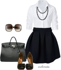 Button front white shirt, full black skirt, heels and pearl style necklace.... How I want to dress for work after my weight loss