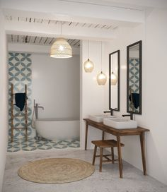 Bathtub in the bathroom: Contemporary Scandinavian style inspiration, Bamboo Ceramic Mirror, in Blue White Brown Bad Inspiration, Bathroom Inspiration, Bathroom Ideas, Room Interior Design, Bathroom Interior, Vintage Bathtub, Best Bath, Bathroom Toilets, Home Decor