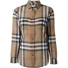 Burberry Cotton Check Shirt With Pockets ($260) ❤ liked on Polyvore featuring tops, brown, checkered shirt, burberry, burberry tops, shirt tops and brown shirts
