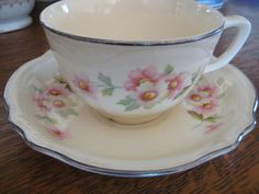 Homer Laughlin Virginia Rose Cups and Saucers - these Homer Laughlin dishes were my mother and grandmother's pattern.