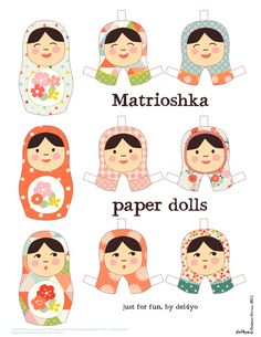 Matrioshka Paper Dolls — Le Lapin dans la Lune