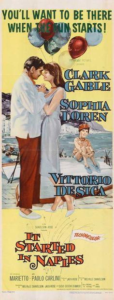 It Started in Naples (1960) Stars: Clark Gable, Sophia Loren, Vittorio De Sica, Marietto ~ Director: Melville Shavelson (Nominated for 1 Oscar & 2 Golden Globes)