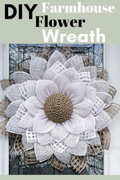 Burlap Flower Wreaths, Sunflower Wreaths, Deco Mesh Wreaths, Floral Wreaths, Door Wreaths, Deco Mesh Crafts, Ribbon Wreaths, Wreath Crafts, Diy Wreath