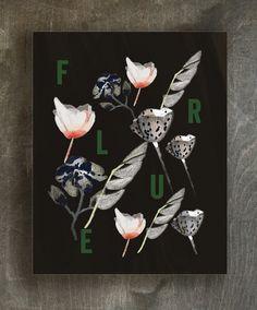 Noir flowers art print | Ferme à Papier
