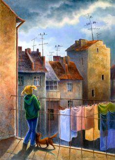 Bert Christensen's Cyberspace Home, Works by Contemporary Artists, Vera Kalinovska Laundry Art, Illustration Art, Illustrations, Naive Art, Whimsical Art, Cat Art, Home Art, Watercolor Art, Street Art