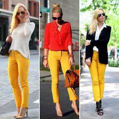 Trending: 1 Bright Piece 3 Ways Maxx Style Scout Helena Glazer goes for the bold. Mustard Jeans Outfit, Yellow Jeans Outfit, Mustard Yellow Pants, Pants Outfit, Yellow Outfits, Jean Outfits, Fall Outfits, Casual Outfits, Style Noir