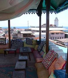 Rooftop restaurant in Stone Town, Zanzibar. One of my favorite places in the world--it's where I got engaged. :)