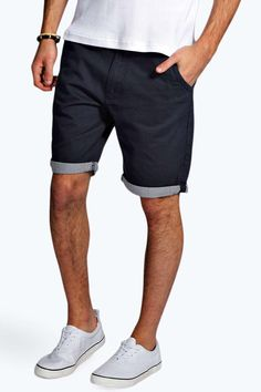 Shorts with Stripe Turn Ups - navy